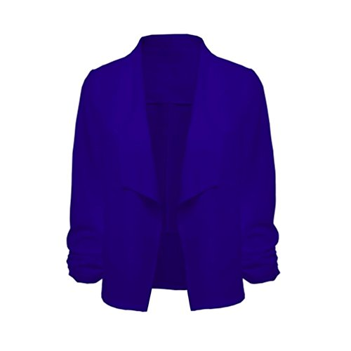 Breve 3 Blu Pingtr Cardigan Delle Donne Cappotto Sportiva Lavoro Giacca Aprono Giacca Davanti D'ufficio Manica Donne Cardigan 4 wwPxUqtgF