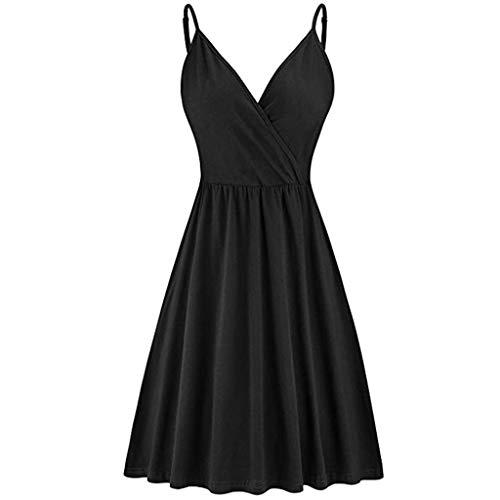 Haalife◕‿Womens Deep V Neck Spaghetti Strap Cross Wrap Midi Dress Casual Flare Swing Dress with Pockets Black