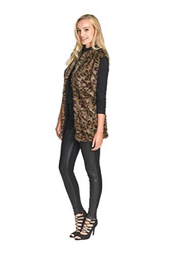 - Long Tall Sally Tall Womens Faux Fur Animal Print Vest in Leopard