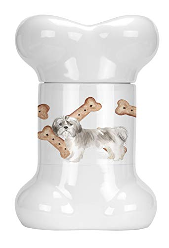 Caroline's Treasures CK2332BSTJ Shih Tzu Puppy Cut Bone Shaped Treat Jar, 9 in, Multicolor (Shih Tzu Bone)