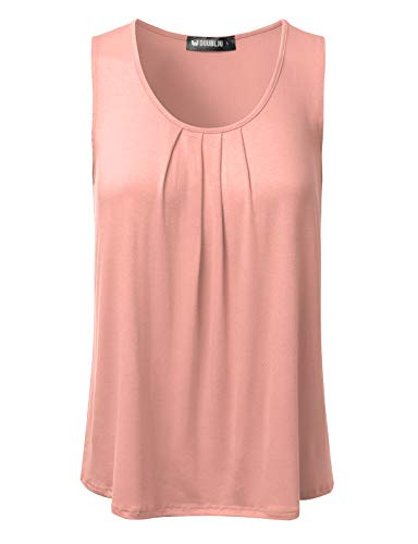 DRESSIS Women's Basic Soft Pleated Scoop Neck Sleeveless Loose Fit Tank Top PEACH M (Sleeveless Womens Shell)