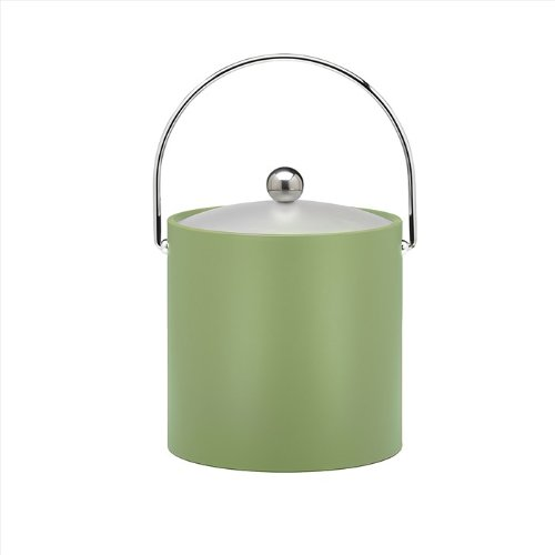 Kraftware Bartenders Choice Fun Colors Collection Ice Bucket 3-Quart, Mist Green, Double Wall Construction, Keep Ice Perfectly Chilled, Hotel Ice Bucket, Guest Room Bar Area Ice Bucket, Bale Handle (Green Ice Bucket)
