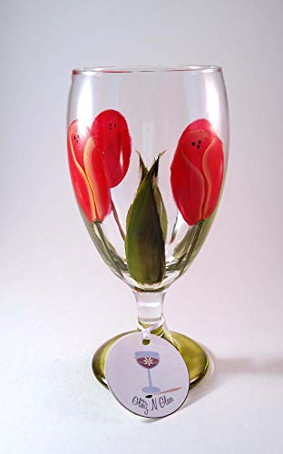 Goblet Painted Hand - Red Tulip Glass Goblets Hand Painted