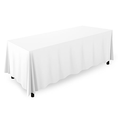 "Mill & Thread - 90"" x 132"" Premium Tablecloth for Wedding/Banquet/Restaurant - Rectangular Polyester Fabric Table Cloth - White"