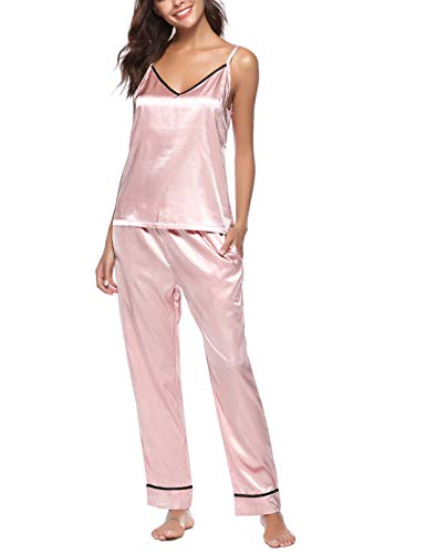 (AIRPJ Wonems Pajamas Sleep Set Sleepwear Satin Pj Sets with Pants Nightwear Pink)