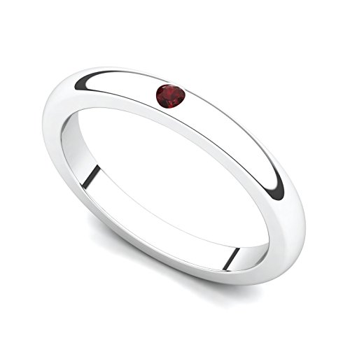 18k Set Jewelry Garnet (18k White Gold Bezel set Garnet Band Ring, 13.5)