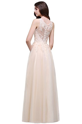 es Lace Tulle Masquerade Dress Sleeveless Ball Party Gown,Beige,Size 4 (Back Long Evening Dress)