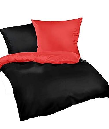 Leben Schlafen Mako Satin Bettwäsche Schwarz Rot Uni 135x200 Cm