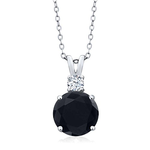 Gem Stone King Sterling Silver Black Onyx & White Topaz Women's Pendant Necklace (3.14 cttw, With 18 Inch Silver -