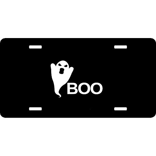 Ghost Silhouette Funny Boo Spooky Halloween Custom Novelty License Plate Humor Funny Aluminum Decorative Auto Front Plate Cover for US Vehicles 12 x 6 Inch -