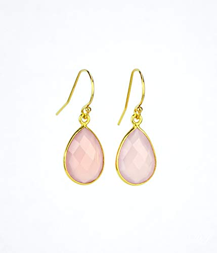 Pink Chalcedony earrings, October Birthstone Earrings, dangle earrings, bridesmaid earrings ()