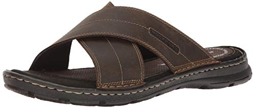 Rockport Men's Darwyn Xband Slide Sandal, Brown Leather, 8.5 W US