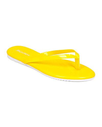 Misbehave EH28 Women Patent Leatherette Thong Sandal Yellow