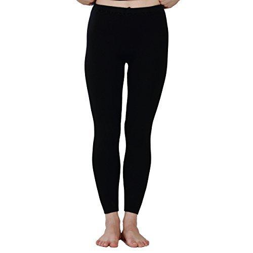 Paradise Silk Silk Cashmere Ribbed Knit Women Thermal Pants Legging (X-Large, Black)