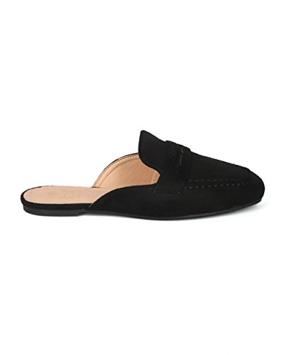 Alrisco Dames Faux Suede Slip Op Platte Loafer Mule - Hg74 Door Betani Collection Zwart Faux Suede