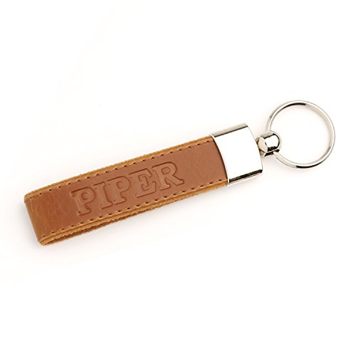 Piper Belt (OTTO Leather Personalized Keychains - Custom Leather Key chains, Engraved Elegant Keyrings with Sturdy Rings for Keys - PIPER - (Light Brown))