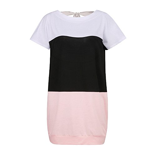 Amazon.com: Women Loose Short Sleeve Casual Dress A Line Swing Simple Multicolor Mini Dress ANJUNIE: Clothing