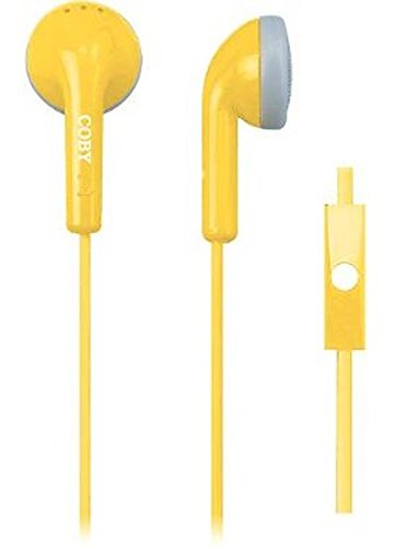 Coby CVE-109-YLW Echo Earbuds with Built-In Mic, Yellow