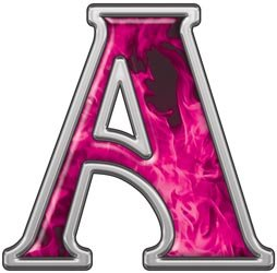 reflective letter a with inferno pink flames 1 h reflective