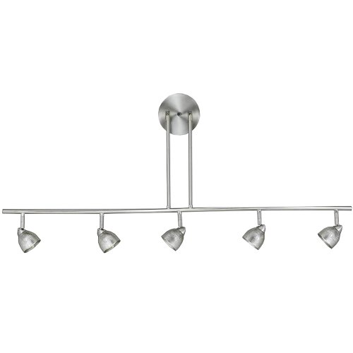 Cal Lighting SL-954-5-BS/CWH Track Lighting with Cone White Shades, Brushed Steel Finish