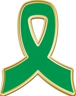 Green Awareness Ribbon Pins 1 Green Awareness Lapel Pins Prime