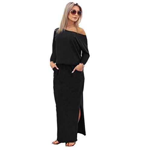 YKA Women Long Section Solid Side Half Sleeve Dress Loose Pocket T-Shirt Dress (Black, XL)