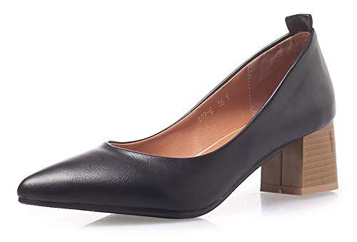 - INSTAR Women's Simple Pointy Toe Medium Chunky Heels Slip On Work Office Pumps Shoes Black 9.5 M US