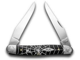 (CASE XX Spider Web Black Delrin Scrolled Bolster 1/500 Muskrat Pocket Knife Knives)