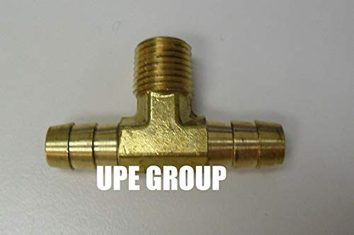 Price comparison product image 3 / 8 Hose Barb TEE X 1 / 4 Male NPT Brass Pipe 3 Way Fitting Thread Gas Fuel Water