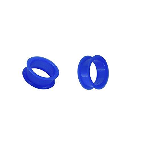 Merssavo 1 Pair Thin Flexible Silicone Ear Skin Tunnels Plugs Ear Gauges Earskin Earlets