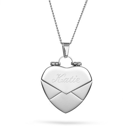 LAOFU Engraved Secret Message Envelope Heart Locket