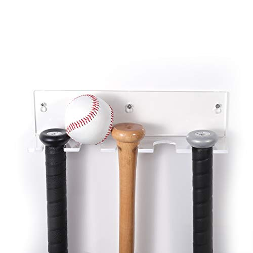 - NIUBEE Bat Rack Wall Mount Baseball Bat Holder Display Bats or Balls,Heavy Duty Acrylic