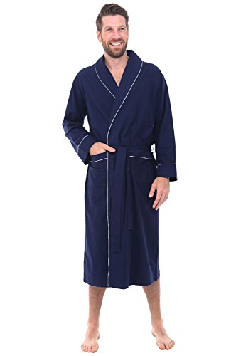 Alexander Del Rossa Men's Lightweight Flannel Robe, Soft Cotton Kimono, Small Midnight Blue (A0707MBLSM)