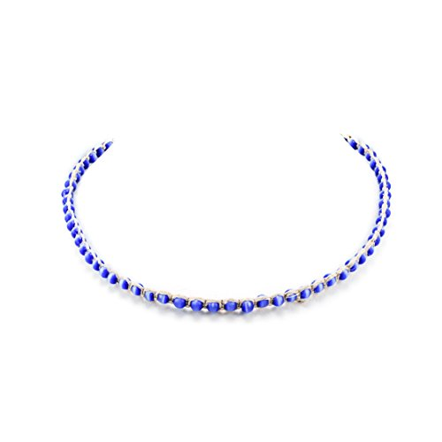 Eye Choker Cat Necklace (Hemp Choker Necklace with Cat's Eye (Dark Blue))