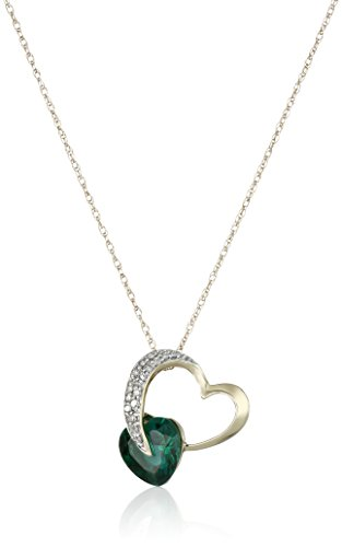 - 10k Yellow Gold Created Emerald and Diamond Heart Pendant Necklace (1/10 cttw, I-J Color, I2-3 Clarity), 18