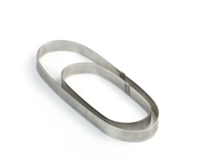 Pavoni Microperforated Stainless Steel Oval Tart Ring Height: 3/4'', 2.75''x7.5''