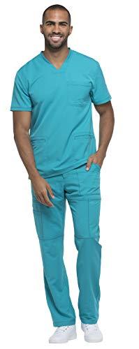 Dickies Dynamix Men's V-Neck 3 Pocket Top DK640 & Men's Zip Fly Elastic Waist Drawstring Cargo Pant DK110 Scrub Set (Teal Blue - XXXX-Large/XXX-Large) ()
