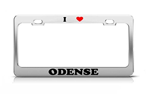 Yves Horace I HEART ODENSE Denmark Metal Auto License Plate Frame Tag Holder