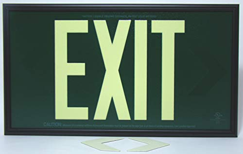 Glow in The Dark Emergency EXIT Signs. Non Electric UL Listed. Industrial Grade. PhotoLuminescent. (Green, 50 Feet, 50G-SB-)