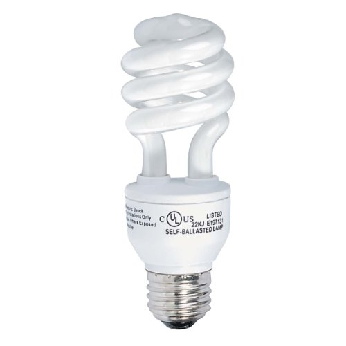 - Globe Electric 4850401 13-Watt Ultra-Mini Compact Fluorescent 60-Watt Incandescent Equivalent Spiral Light Bulb, Soft White, 4-Pack