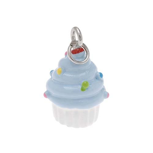 Delight Beads Hand Painted Charm White And Blue Cupcake With Sprinkles 17mm (Hand Painted Beads)