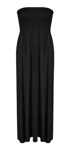 New Womens Plus Size Sheering Gather Boobtube Bandeau Long Strapless Maxi Dress - BLACK - UK 20/22(XXL) - (95% VISCOSE 5% ELASTANE) (Strapless Dress Xxl)