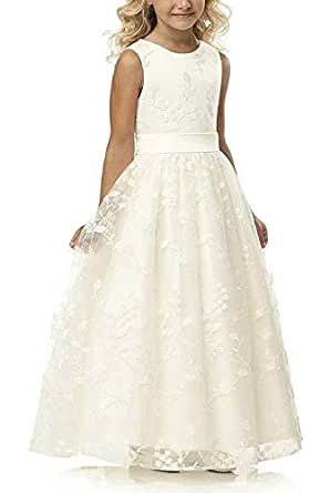 Amazon.com: A line Wedding Pageant Lace Flower Girl Dress
