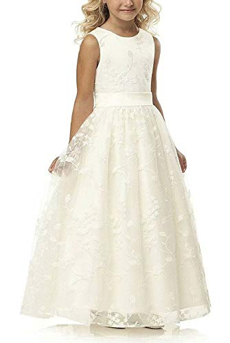 A line Wedding Pageant Lace Flower Girl Dress with Belt 2-12 Year Old (Size 6, Ivory)