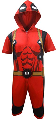 Marvel Deadpool Cropped Hooded Union Suit one-piece Pajama for men (Large), Red
