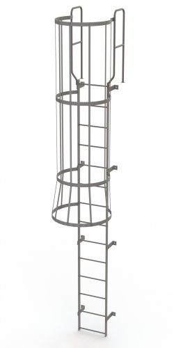 Steel Fixed Ladder - Tri-Arc WLFC1214 14-Rung Walk-Thru Fixed Steel Ladder with Cage