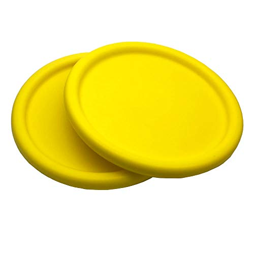 Systreek 2 Pack Soft Frisbees for Kids, Round Edge Foam Frisbee, Throwing Flying Frisbee Disc Game, for Improving Accuracy, Reaction, Agility, Hand-eye Coordination Training and DIY Creativity, Yellow -