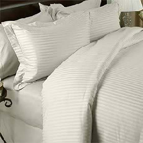 600 Thread Count Queen Siberian Goose Down Alternative Comforter 600FP 50oz With 100 Egyptian Cotton Stripe Damask Cover Cream Ivory Set Includes Bed Duvet Cover Sheet With TWO Shams Pillowcases Made Of 600 Thread Count 100 Long Staple Egyptian Giza Cotton With Swiss Sateen Finishing