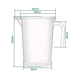 1000ml Transparent Measuring Cups PP Resin Container Measuring Cup with Handle and Lid Sift-proof for Kitchen or Laboratory Use