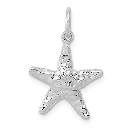 ICE CARATS 14kt White Gold 3 Dimensional Starfish Pendant Charm Necklace Sea Shore Shell Life Fine Jewelry Ideal Gifts For Women Gift Set From (White Gold Starfish Necklace)